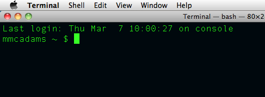 Screenshot: The command line in Mac Terminal