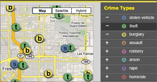 Fresno Bee crime map (detail)