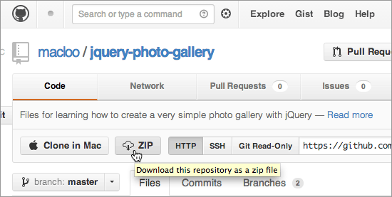 GitHub image - download zipped file