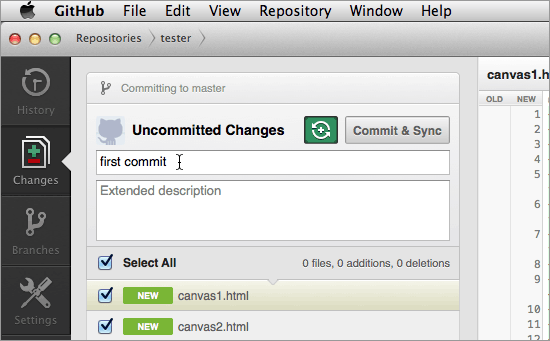 GitHub for Mac client image - Type a commit message