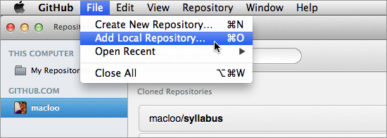 GitHub for Mac client image - Add Local Repo