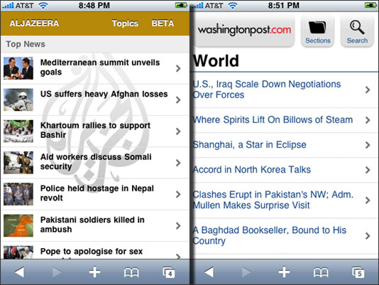 Web apps - Al Jazeera English and The Washington Post
