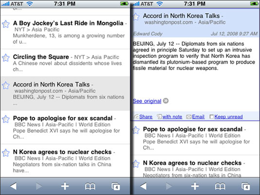 Google Reader as a Web app for iPhone