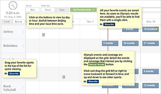 NYT interactive Olympics scheduler