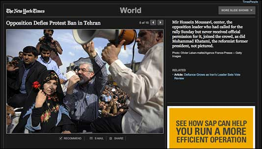 NYT photo gallery - Opposition Defies Protest Ban in Tehran