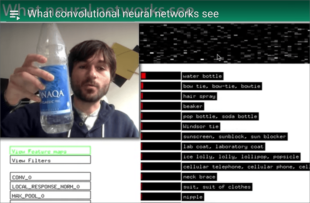 Screenshot of man holding water bottle and neural net evaluation of video image